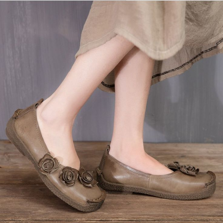 2017 Spring And Autumn Women Casual Shoe With Small Cow Genuine Leather Women's Flats Retro Flower Round-toe Handmade