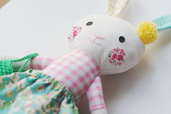 Betsy Stuffed easter bunny rabbit rag doll bunny by pompondolls