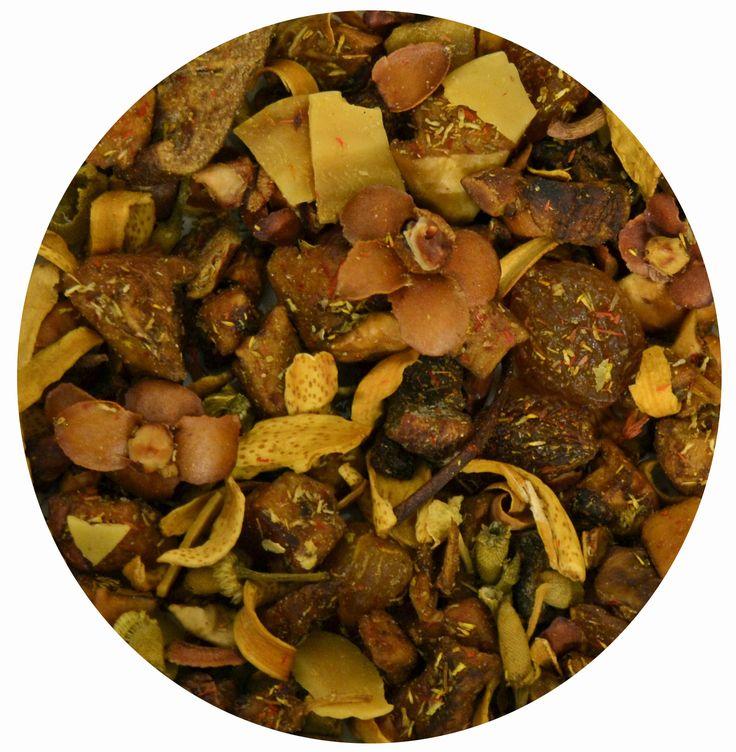 """Infusión Fantasía"", mezcla de frutas con trozos de manzana, pera, pasas, corteza de cassia, almendras, flores de azahar, manzanilla, tila y cártamo. 7€/100gr."