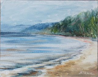 Foggy Morning at the Beach, $195. Painted en #pleinair at Port Washington, Wisconsin (Lake Michigan) with Grumbacher Professional oil paints on 8x10 Fredrix canvas panel. #art