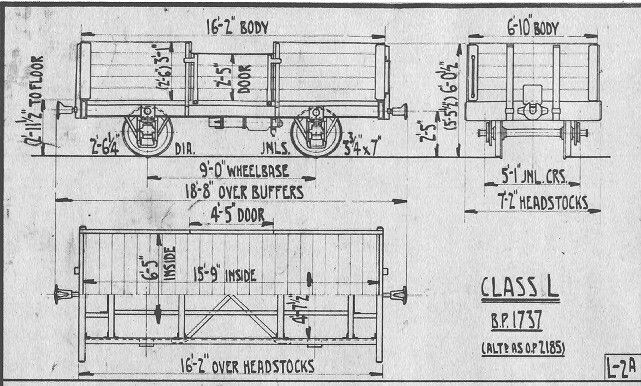 NZR, New Zealand Railways, Class L Wagon Line Drawings