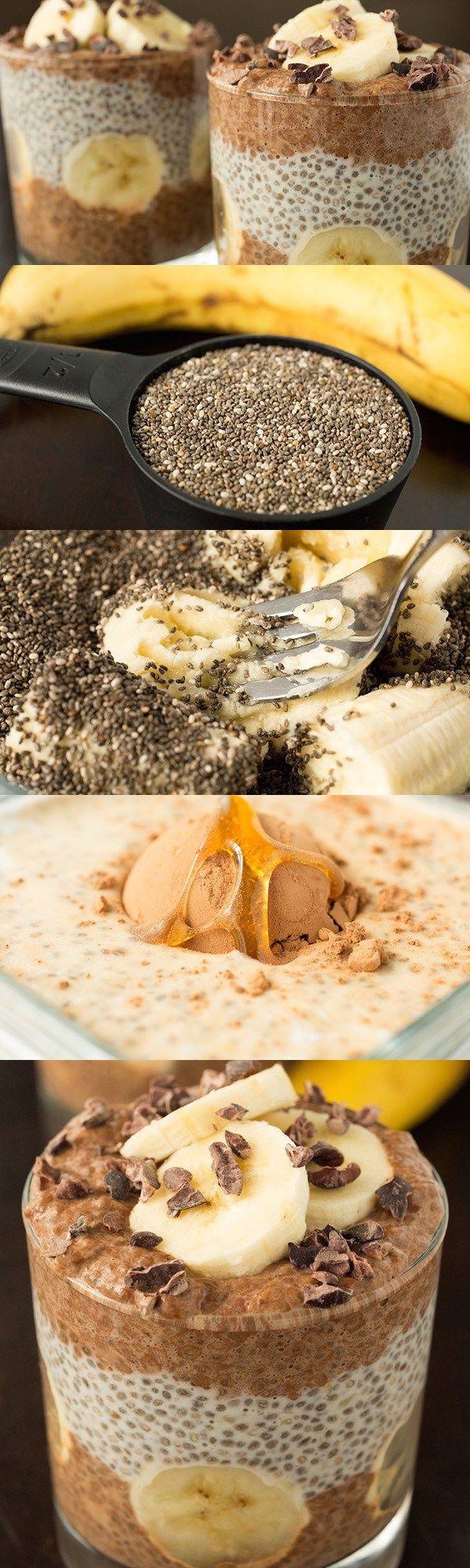 2 Bananen, reif 2 EL Kakaosäulen 1 EL Kakaopulver Backen und würzen 1 EL Süßstoff 1/2 tsp Vanilleextrakt Nüsse und Körner 1/2 Tasse Chia Samen Milchprodukte 2 Tassen Milch