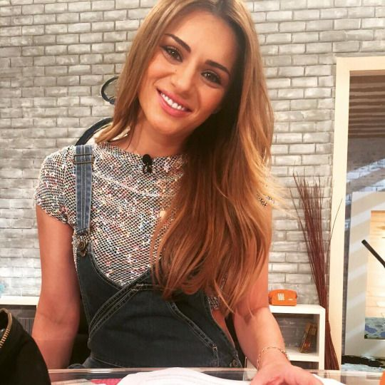 "TV Hostess Eleni Tsolaki in Giulia S ""Mallow"" crop top from SS15'Collection"