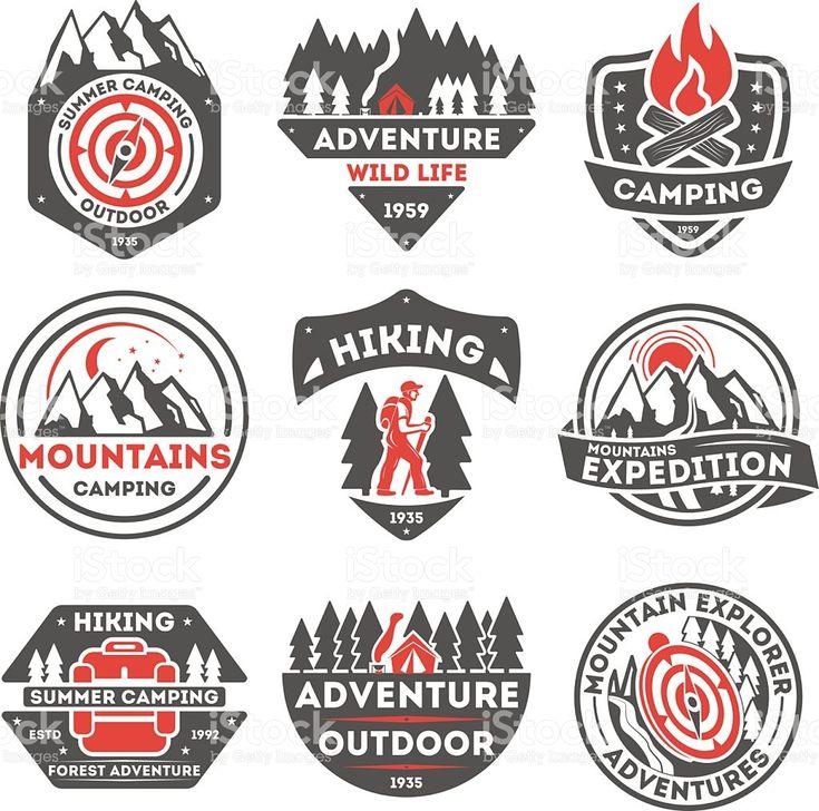 Adventure outdoor vintage isolated label set download vetor e ilustração royalty-free