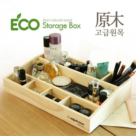 [디자인크럽 니즈]에코 화장품 정리함 3단(원목나무)