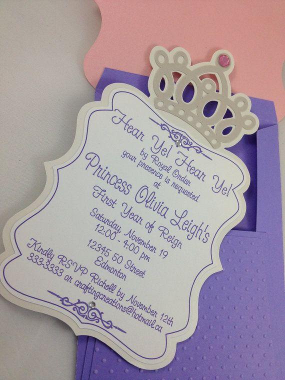 pink purple princess themed birthday baby shower invitation