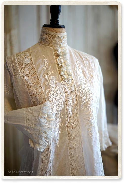 1920年 エドワーディアンブラウス - 【Belle Lurette】ヨーロッパ フランス アンティークレース リネン服の通販