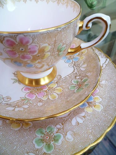 Vintage Tuscan China Tea Cup Saucer and Side Plate Pink