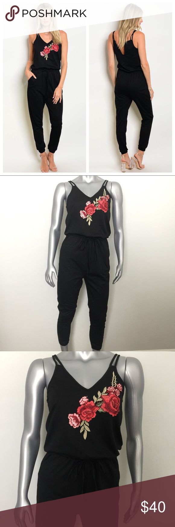 "Black Trendy Rose Flower Patch Detail Jumpsuit Black pant jumpsuit with embroidered rose flower detail patch. Super comfy yet stylish! 85 % Polyester 15% Cotton.   Small: B: 17"" W: 13"" L: 57 Inches.  Medium B: 18"" W: 14"" L: 57 Inches.  Large: B: 19"" W: 15"". L: 57 Inches.  (Measurements laying flat across) Elastic waist can easily be stretched about 1 1/2"" (inches) Pants Jumpsuits & Rompers"