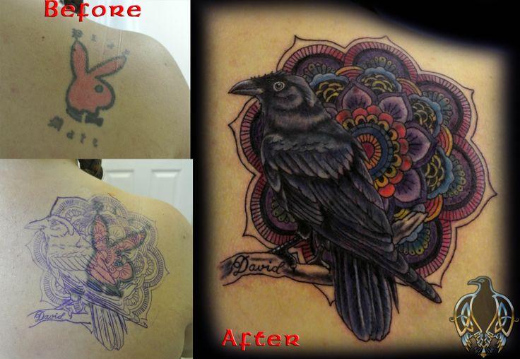 cover up tattoo; crow; mandela; bird; color tattoo | More ...