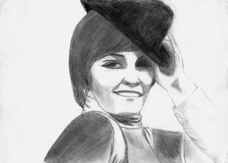 Pencil sketch of Priscilla Lopez as Diana Morales from A Chorus Line, 1975.