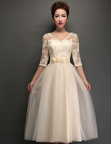 Homecoming Tea-length Tulle Bridesmaid Dress - Champagne A-line V-neck – GBP £ 43.79