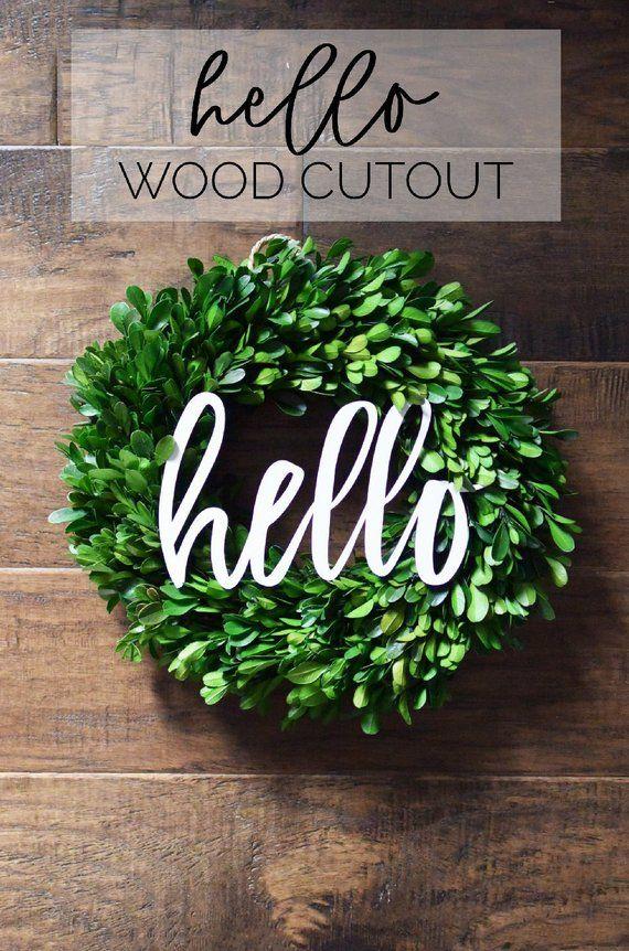 Hello Wood Word Cutout Wreath Decor Hello Sign White Hello Etsy Wreath Decor Mantle Decor Cutout
