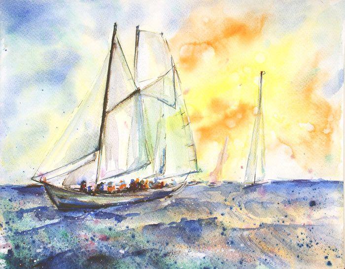 Aquarell - Segelboot Malerei Original Aquarell - ein Designerstück von Radikacolours bei DaWanda