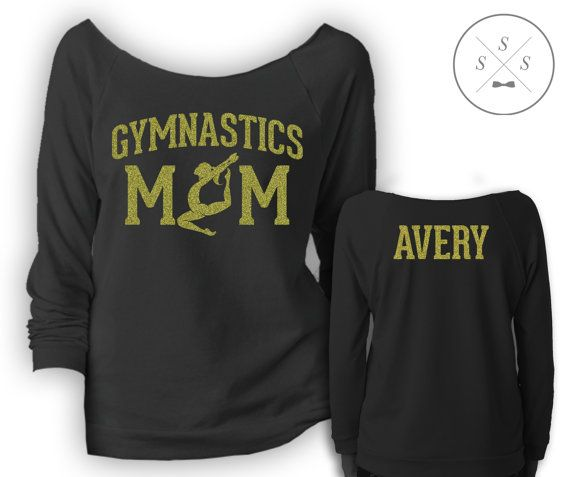 Gymnastics Mom!  Note: Please include in the notes to seller the last name and number you would like on the back of the shirt. Also include which color you would like the design to be. Available glitter/fluorescent colors are shown in the photos on the listing. All other standard colors are available as well  Note: Multiple colors can be requested for the design, each additional color is $2.00 (please add our listing for miscellaneous 2 dollars to your cart)  Note: We have sizes up to a 2XL…
