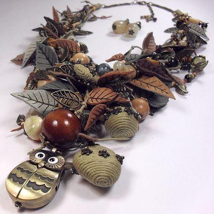 Тайная Совушкина поляна. Комплект. Длинное колье, часы, серьги.. Длинное крупное колье с часами и серьги. Бусины: оникс, яшма, тигровый глаз, соколиный глаз, дерево(в том числе можжевельник), бусины из кокоса, бусины ручной работы(вощёный шнур, фурнитура), немного гранёного стекла.