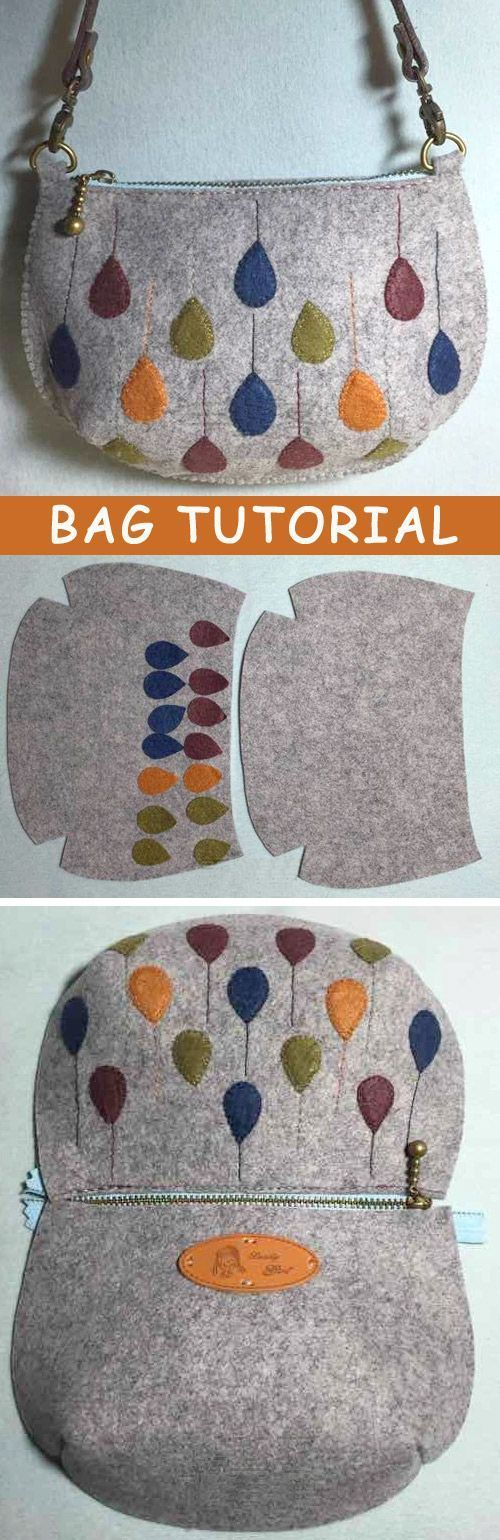 Photo Tutorial: How to Make Bag Felt. DIY step-by-step. http://www.handmadiya.com/2015/10/felt-bag-tutorial.html::