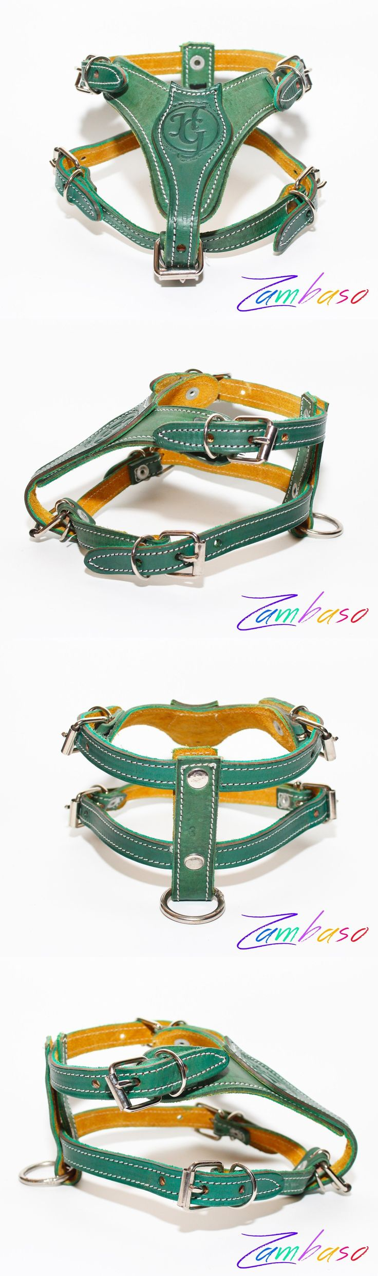 Harnesses 66783: Genuine Green Leather Dog Pulling Chest Harness Adjustable Small Terrier Jrt BUY IT NOW ONLY: $39.95