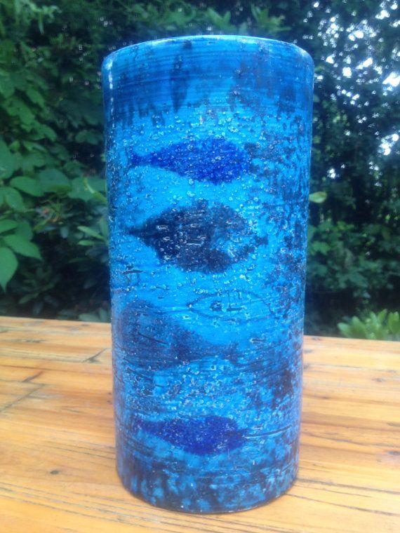 Bitossi Rimini blue glaze fish decor vase by VintageDesignCandy, $75.00