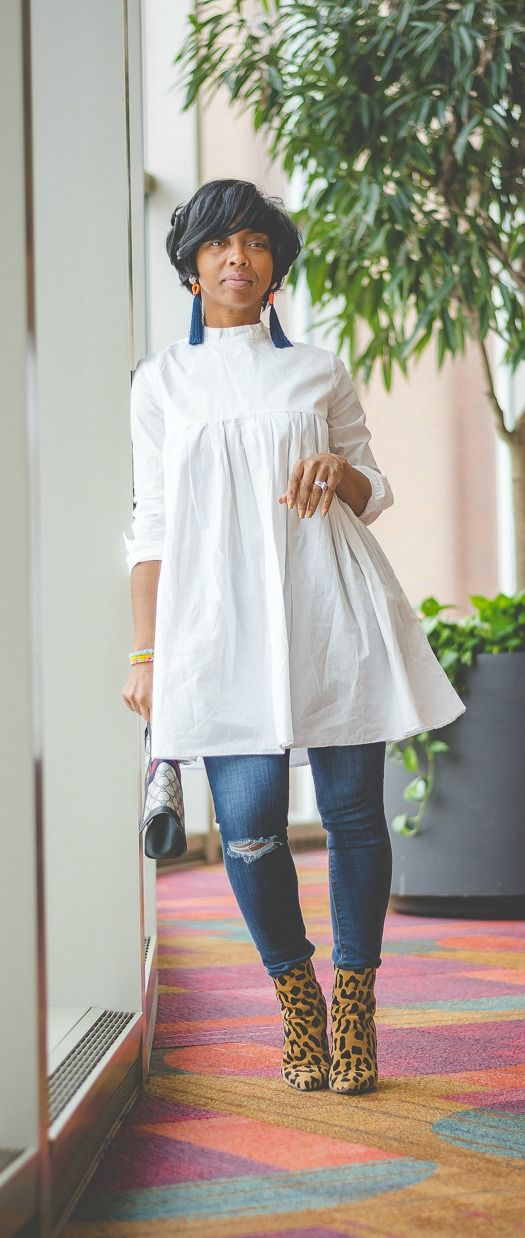 Sweenee Style, Indy Blogger, Winter Outfit Idea, Black girls who blog, White shirt dress, Distressed Denim, Fall 2017, fall outfit ideas, OUTFIT, OUTFIT IDEAS, OUTFIT POST, Winter 2018, Winter Outfit Idea, leopard boots