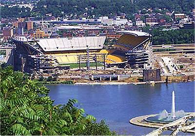 Heinz Field Football Stadium        A beautiful view of Heinz Field and Point State Park from Mt. Washington, across from downtown Pittsburgh. Opened in 2001, this football stadium is home to the Pittsburgh Steelers and University of Pittsburgh Panthers.