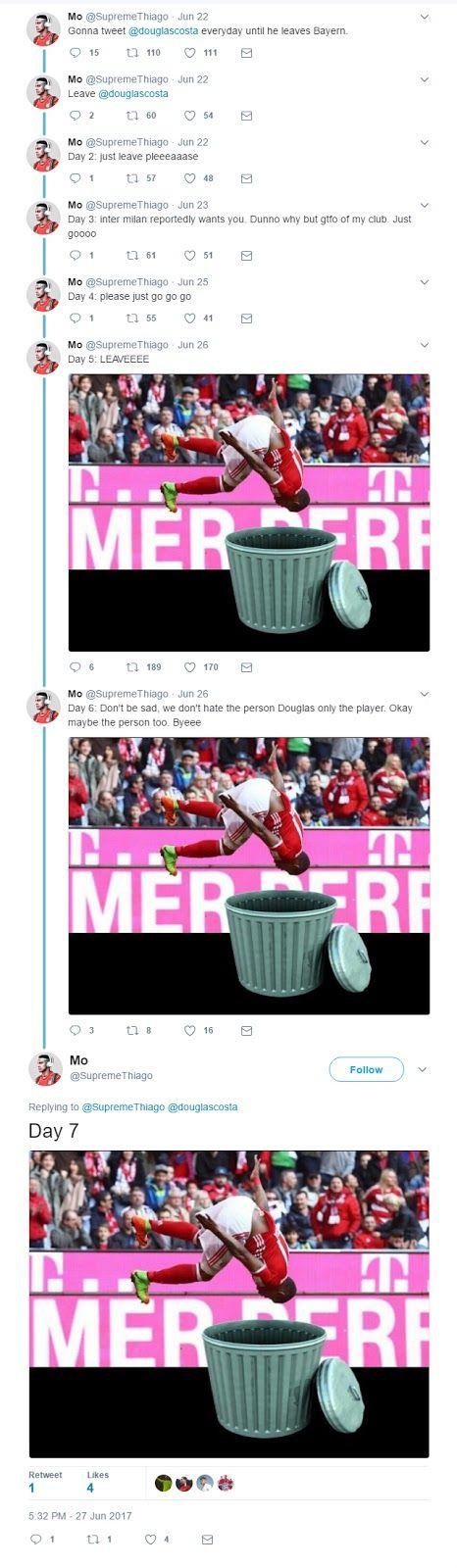 Desperate Bayern Munich fan tweeting Douglas Costa every day until he leaves