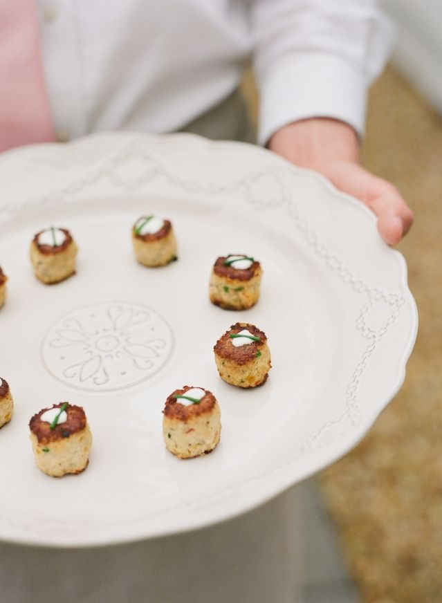 Mini crab cakes by the PPHG culinary team at Meggie & Bill's destination wedding in Charleston, South Carolina |  Lowndes Grove Plantation real wedding featured in Charleston Weddings | Photo by Lucy Cuneo & Wedding Design by Calder Clark