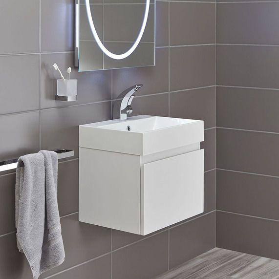 Basin with storage Mino 500 Drawer Unit And Basin - White Gloss | bathstore
