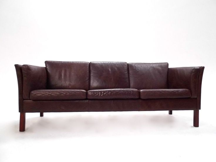 Danish Dark Brown Leather 3 Seater Sofa Midcentury 1960s