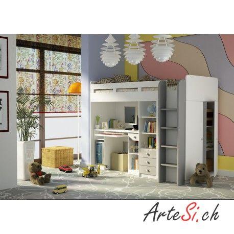 Fresh G nstiges Designer Kinderzimmer in Weiss COMBI Hochbett mit Schreibtisch Regal und Schrank Matratzenauflage enthalten Kinderzimmer Kindertr ume