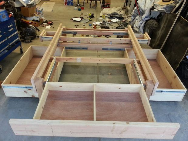 King size storage platform bed