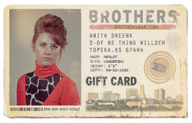 They're not a fake IDs, they're real GIFT CARD fake IDs. Brothers one-of-a-kind gift cards come in many retro versions. Any denomination, never expire.