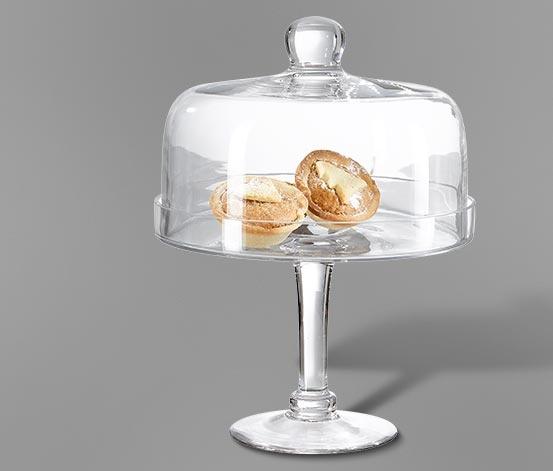 Süteménytartó, búrával, üveg