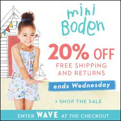 20% Off Boden and Mini Boden Coupon Code & FREE Shipping AND FREE returns