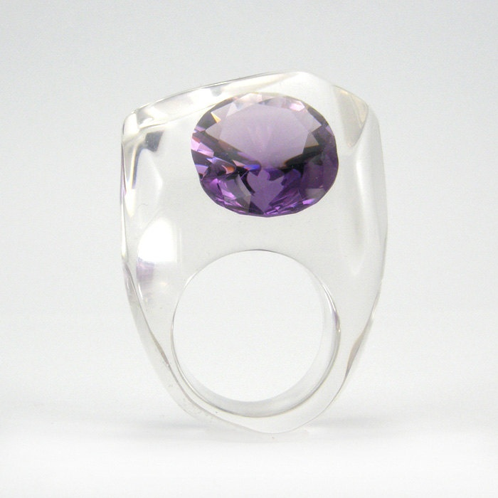 Clear resin ring with large Zirconia, Tanzanite Zirconia Ring. $50.00, via Etsy.