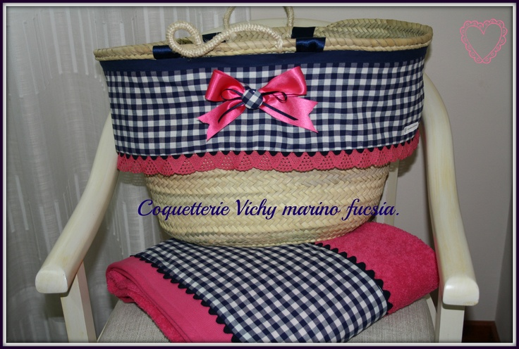 Conjunto capazo y toalla tonos fucsia marino