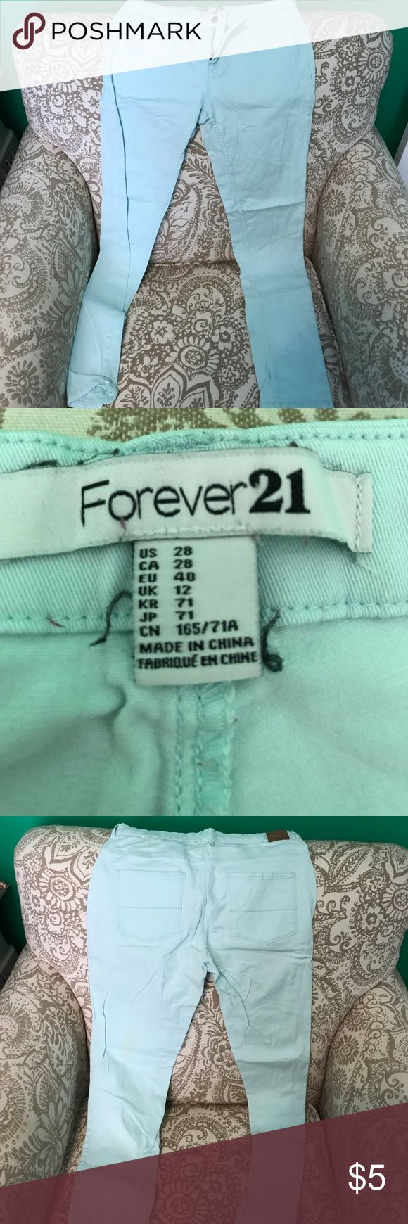 Forever 21 mint green pants - 28 Stain on back of left leg, easily taken out with stain remover. Great condition otherwise Forever 21 Pants Skinny