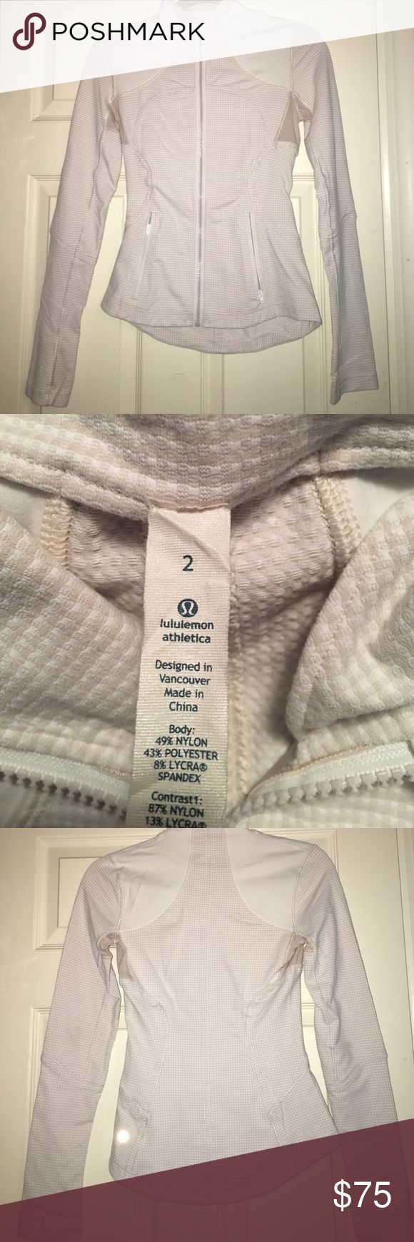 Lululemon Checkered Beige and White Zip Up Checkered beige and white Zip Up jacket. Lightly worn with minor pilling on bottom of sleeves (shown in the last picture) but no stains or tears and in otherwise great condition! Perfect for Spring and Summer lululemon athletica Jackets & Coats
