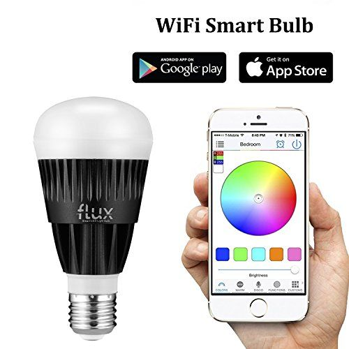 Flux WiFi Smart LED Light Bulb  Works with Alexa  Smartphone Controlled Multicolored Color Changing Lights  Dimmable Night Light  10 Watts 70 Watts Equivalent