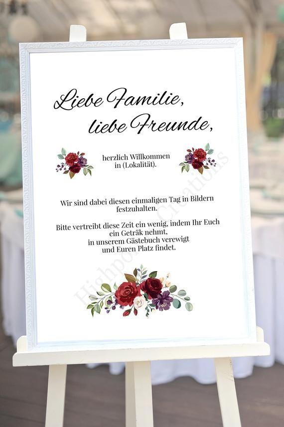 Personalisiertes Hochzeits-Willkommensschild | DIY Hochzeit | Vintage Hochzeit | Rote Blumen | Willkommenschild | PDF/Leinwanddruck Schild