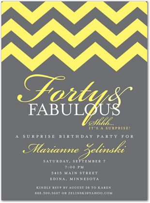 12 best 40th birthday party ideas images on pinterest birthday 40th birthday invitations fabulous yellow chevron forty 34482 solutioingenieria Images
