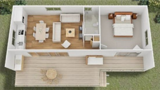One of the more practical designs I've seen lately.  Tiny House Floor Plans | Tiny House Designs by Quick Housing Solutions