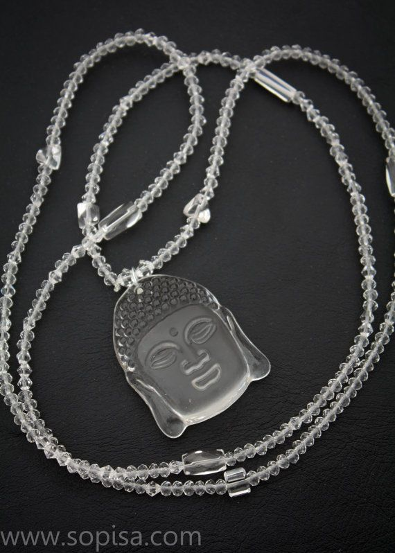Long Beaded Necklace With Glass Buddha Pendant  by SopisaJewelry