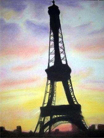 Chalk pastels: French culture, famous buildings