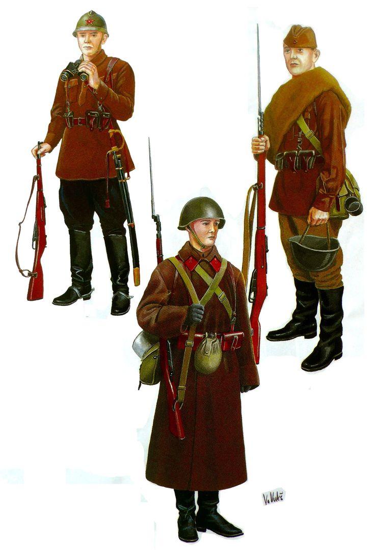 ARMATA ROSSA - Soldato di Cavalleria uniforme estiva 1937, Soldato di Fanteria in uniforme invernale,1937, Soldato di Fanteria in uniforme estiva. 1937