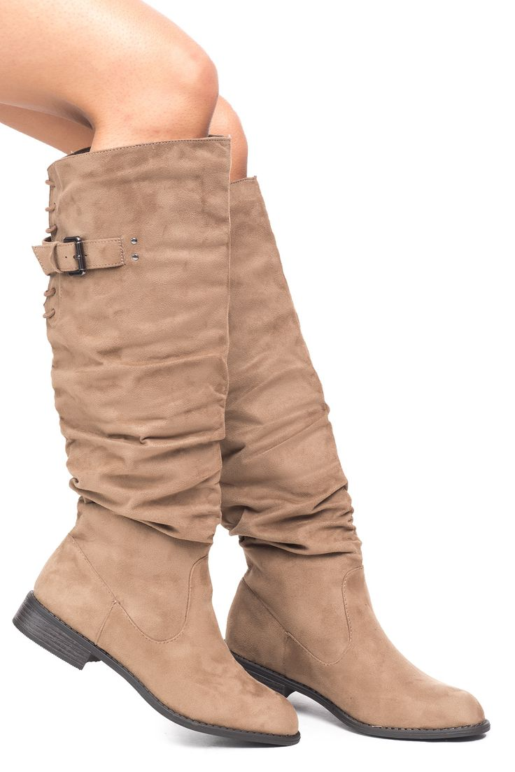 FAUX SUEDE SLOUCHED BUCKLE KNEE HIGH BOOT - SALE