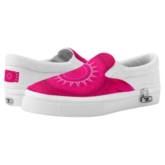 Pink Mandala Custom Zipz Slip On Shoes by www.zazzle.com/htgraphicdesigner* #zazzle #gift #giftidea #shoes #mandala #kaleidoscope #abstract #summer #pink