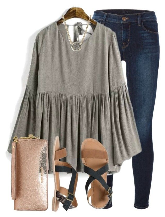 """""""people are as happy as they make their mind up to be"""" by elizabethannee ❤ liked on Polyvore featuring J Brand, Kendra Scott, IPANEMA and MICHAEL Michael Kors"""