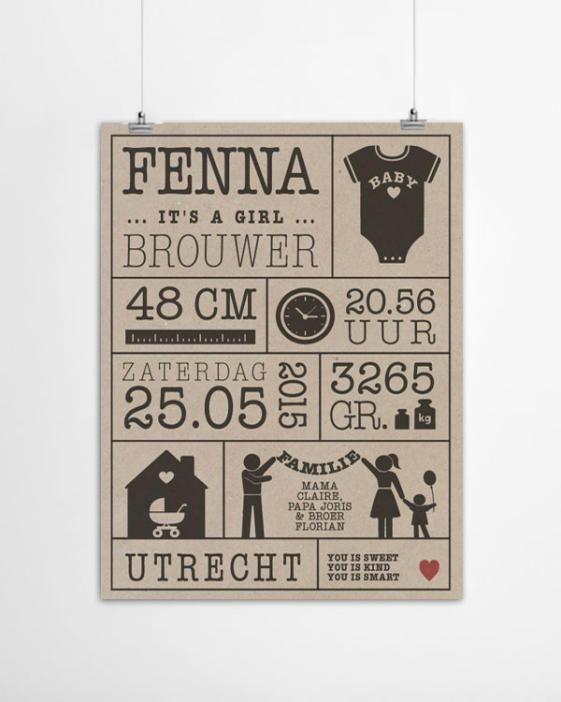baby geboorte poster gedrukt op gerecycled papier met gewicht, lengte, naam en geboorteplaats printcandy.nl.