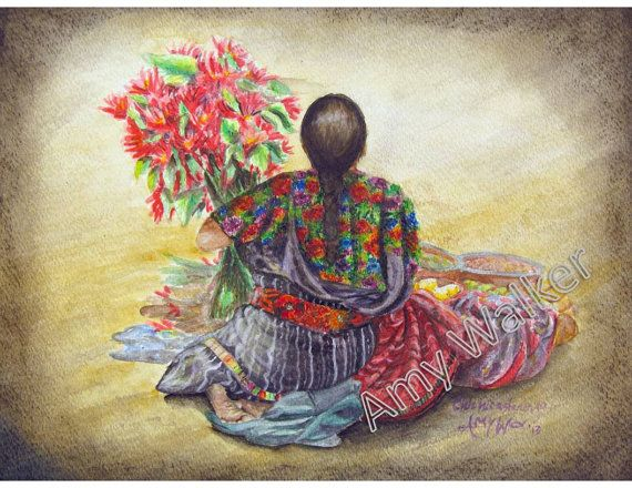 Mayan Culture at its best!  Love the beautiful embroidered cloth.   Watercolor painting, art
